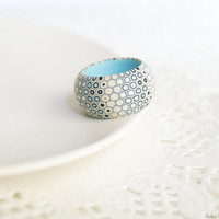 Pastel colors ring Modern ring Honeycomb ring Aqua blue, vanilla and peach ring Geometric jewelry Contemporary jewelry