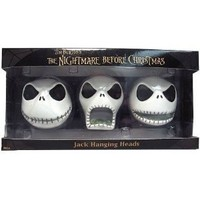 Nightmare Before Christmas Jack Hanging Heads 3 Count Ornament Set