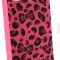 Hello Kitty Leopard & Bow case for Apple Iphone 4 4gs -- Hot Pink