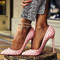 Gwen Pink Spike Patent Leather Pumps