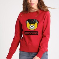 Moschino Bear Embroidery Long Sleeve Top Sweater Pullover Sweatshirt