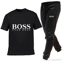 Summer Luxury designers bosses Men's Sets T Shirts+pants hugo 2Pieces Sets Casual Tracksuit new Male Casual Tshirt Gyms Fitness trousers men