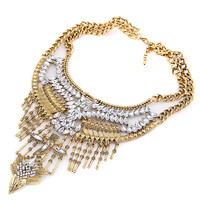 Golden Stone Plated Tassel Necklace