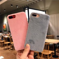 For Apple iPhone 8 Case Cute Plush Fluffy Protective Back Cover for iPhone6 6 S Plus 7 7plus X Winter Design Warm Fur Phone Case