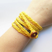Yellow Braided Hemp Wrap Bracelet, ready to ship.