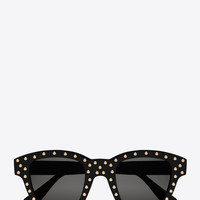 SAINT LAURENT NEW WAVE 100 LOU STUDDED SUNGLASSES IN SHINY BLACK ACETATE WITH GREY LENSES   YSL.COM