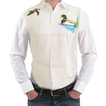 Mens Tuxedo Shirt with Screen Printed Ducks - SM 14-14 1/2 / 33