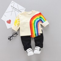 Kids Winter Clothes Rainbow Embroidery T-shirt Set Comfortable Warm Boys Children Clothing Girl Winter Clothes For Kids