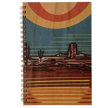 Wood Notebook Desert Sunset
