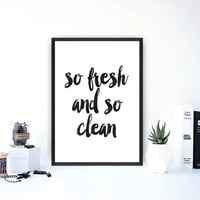 "Printable quotes""So fresh and so clean""Quote print,Bathroom printable,Home decor,Wall decor,Bathroom decor,Word decor,Watercolor prints"