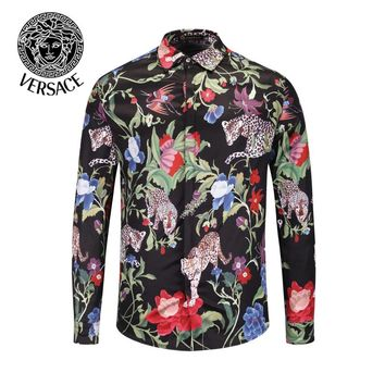 VERSACE Autumn New Men Women Casual Print Long Sleeve Lapel Shirt Top
