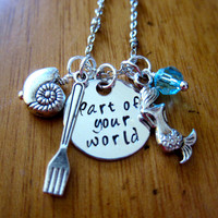 """Disney's """"Little Mermaid"""" Inspired Necklace. Part Of Your World. Charm Pendant, Silver colored, Swarovski crystal, for women or girls"""