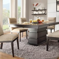 7 pc Tanager collection contemporary style espresso finish wood pedestal dining table set