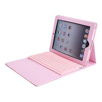 Pink PU Leather Case with Bluetooth Keyboard for the New iPad