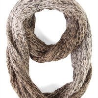 Winter Knit Infinity Scarf with Marled Pattern