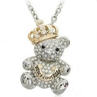 Elegant Crystal Rhinestone Bear Crown Sweater Chain Necklace: Everything Else