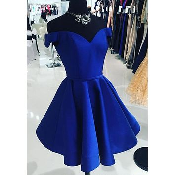 Short Royal Blue Prom Dress, Homecoming Dresses, Graduation School Party Gown, Winter Formal Dress, DT0158