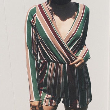 Mel Green Burgundy Vertical Striped Romper