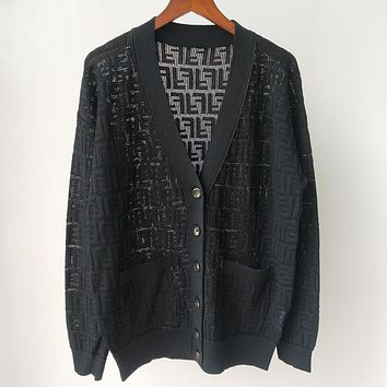 FENDI New FF Hollow V-neck Long Sleeve Pure Color Knit Cardigan