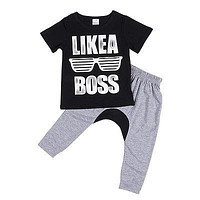 Kids boys clothing Kids Baby Boys Clothes T-Shirt Tops + Long Pants Trousers Outfits