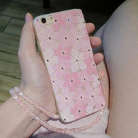 Flower Case For iPhone 7 Case For iPhone 7 6 6S Plus Phone Cases Beautiful Pink Floral Back Cover Cute Capa Soft- 0322