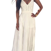 V Neck Backless Lace Chiffon Dress In White