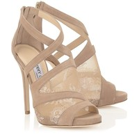 Nude Lace and Suede Peep Toe Sandals | Vantage | Pre Fall 14 | JIMMY CHOO Sandals