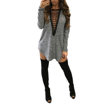 Free Shipping 2017 Women Deep V Neck Lace Up Sexy Bodycon Bandage Party Dresses Casual T-Shirt Dress Vestidos