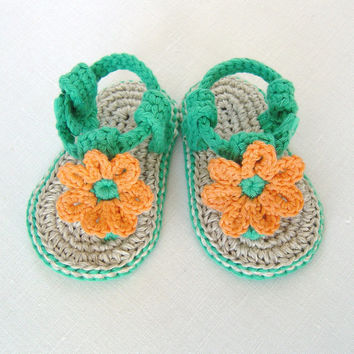 CROCHET PATTERN Baby Flower Sandals 3 Sizes Easy Photo Tutorial Baby Sandals Digital File  Instant Download