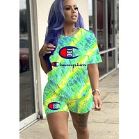 Champion 100th Anniversary Letter Print Casual Two-Piece Set