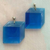 3-D Cobalt Blue Lucite Box Dangle Post Earrings Vintage Retro Jewelry