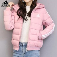 ADIDAS selling casual women's three-bar-hatted down jackets