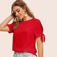 Solid Knotted Split Sleeve Top Shirt Top Tee