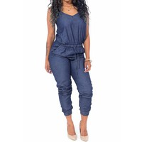 Summer Style Denim Overalls Women 2016 Macacao Feminino Vintage Rompers Womens Jumpsuit Jeans  Women Overall Playsuit