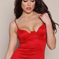 Red Bodycon Midi Dress with Under Wire - LoveCulture