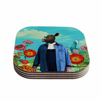 "Natt ""Family Portrait N2"" Blue Cow Coasters (Set of 4)"
