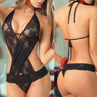Womens Sexy Lace Mesh Sheer Strappy Hollow Halter Bodysuit Lingerie  one Size = 1930023300