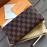 Louis Vuitton LV Classic Women Leather Zipper Wallet Purse Clutch Bag