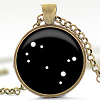 Gemini Constellation Pendant, Zodiac Jewelry in Your Choice of Finish (1229)