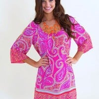Crazy for Paisley Tunic-Candy Pink