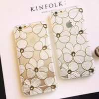 Fashion white lace flower phone case for iphone 5 5s SE 6 6s 6 plus 6s plus + Nice gift box 072702
