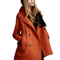 Double Pocket Double-breasted Wool Coat