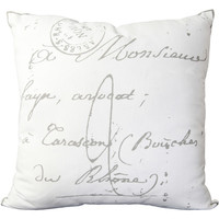 Walmart: Libby Langdon French Scribe Hand Crafted Graphic Novelty Cotton Decorative Pillow, White