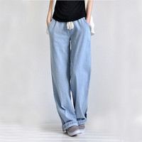 Plus size casual comfortable loose wide leg pants women's straight jeans elastic waist full length trousers Free shipping