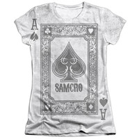 SONS OF ANARCHY/ACE OF SPADES-S/S JUNIOR POLY/COTTON CREW-WHITE