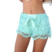 Womens New Sexy Elastic Openwork Celeb Lace Crochet Bow Shorts Mira Hot Pants