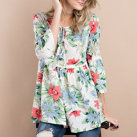 Linen Floral Lace Up Baby Doll Tunic