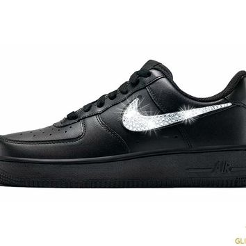 CLEARANCE - Women's Nike Air Force 1 '07 + Crystals - Black - Size 6