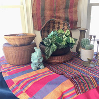 Collection of 5 Colorful Woven Baskets,  Woven Boho Baskets with Lids, Hexagonal Wall Basket , Pine Needle Storage Baskets