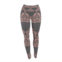 "Nandita Singh ""Decorative Motif Pink"" Bronze Floral Yoga Leggings"